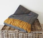 Herringbone Throw 100% Pure New Wool - Navy Blue & Mustard