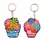 Flower Pot Rubber Key Ring