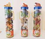 Animal World Playset - 3 Tubes - Safari, Farm, Dinosaur - 40 items