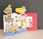 1st Birthday Card - Girl Boy Kids - Jungle - 3 Fold Glitter Die-cut - Whippersnappers