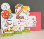 2nd Birthday Card - Girl Boy Kids - Dogs - 3 Fold Glitter Die-cut - Whippersnappers