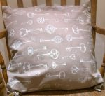 "Cotton Key Design Cushion 20"" - Grey or Mocha x 20"""