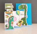 5th Birthday Card - Boy Kids - Dinosaur - 3 Fold Glitter Die-cut - Whippersnappers