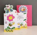 Birthday Card - Girl Kids - Bee Flowers - 3 Fold Glitter Die-cut - Whippersnappers
