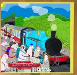 Birthday Card - Blue Steam Train Railway - Sheep - Amy Whelan