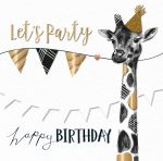 Birthday Card - Black & Gold Giraffe Talking Pictures