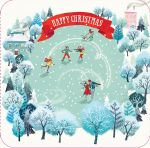 Luxury Christmas Card - Winter Skating - Snowy Xmas Ling Design