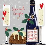 Christmas Card - Special Couple -  Xmas Pud Champagne - 3D - Talking Pictures