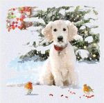 Christmas Card Pack - 5 Cards Puppy Dog in the Snow Glittered Ling Design