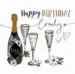 Birthday Card - Black & Gold Champagne Talking Pictures