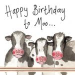 Birthday Card - Farm Cows - Sparkle - Alex Clark