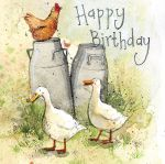Birthday Card - Milk Churns Duck Chicken - Alex Clark