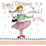 Christmas Card - Daughter Fairy Xmas Pudding - Sparkle - Alex Clark