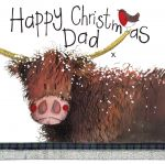 Christmas Card - Dad Highland Cow - Sparkle - Alex Clark