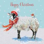 Charity Christmas Card - Winter Wooly Sheep Glitter - Ling Design