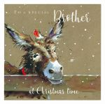 Christmas Card - Brother - Donkey Robin - Xmas Friends - The Wildlife Ling Design