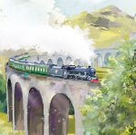 Note Card - 5 x Notelets - Locomotive Steam Train - Ling Design
