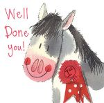 Greetings Card - Well Done Horse 1st - Little Sparkles - Alex Clark