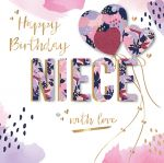 Birthday Card - Niece - Heart 3D Glitter - Talking Pictures