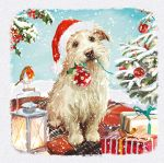 Luxury Christmas Cards Pack - 10 Cards Dog Xmas Helper - Glittered - Ling Design