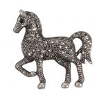 Diamanté Trotting Horse Brooch