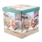 Cockerel & Hen Chicken Farm Folding Storage Box or Seat