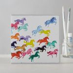 Greetings Card Open - Galloping Horses - Rainbow Ponies