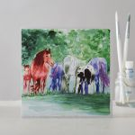 Greetings Card Open - Mares & Foals Horse Pony Watercolour