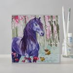 Greetings Card Open - Purple Friesan Horse Pony Watercolour