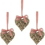 Heart Willow Christmas Tree Decoration Set of 3 - Large