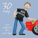 30th Male Birthday Card - Boy Racer One Lump Or Two