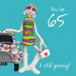 65th Female Birthday Card - Hippy Groovy One Lump Or Two