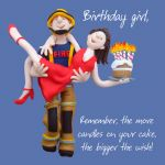 Birthday Card - Female Funny Humour Fireman One Lump Or Two
