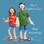 Wedding Anniversary Card - Son & Daughter in Law Funny One Lump Or Two