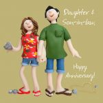 Wedding Anniversary Card - Daughter & Son in Law Funny One Lump Or Two