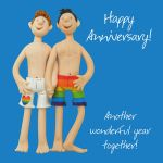 Wedding Anniversary Card - Male Gay Couple Funny One Lump Or Two