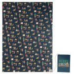 Christmas Elf on a shelf Gift Wrapping Paper Sheet & Tag