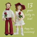 Wedding Anniversary Card - 13th Thirteenth 13 Years Lace One Lump Or Two