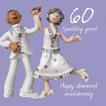 Wedding Anniversary Card - 60th Sixtieth 60 Years Diamond One Lump Or Two