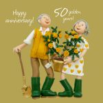 Wedding Anniversary Card - 50th Fiftieth 50 Years Golden One Lump Or Two