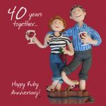 Wedding Anniversary Card - 40th Fortieth 40 Years Ruby One Lump Or Two