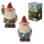 Gnome Ceramic Money Bank Box - Blue & Green