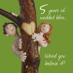 Wedding Anniversary Card - 5th Fifth 5 Years Wood One Lump Or Two