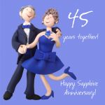 Wedding Anniversary Card - 45th Forty Five 45 Years Sapphire One Lump Or Two
