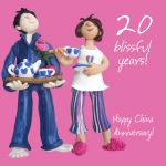 Wedding Anniversary Card - 20th Twenty 20 Years China One Lump Or Two