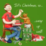 Christmas Card - Wrap Up Well - Cat - Funny Humour One Lump Or Two