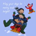 Christmas Card - Merry & Bright Family Sledging - Funny Humour One Lump Or Two