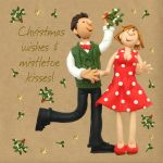 Christmas Card - Wishes & Mistletoe Kisses - Three French Hens