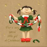 Christmas Card - Special Little Girl - Three French Hens