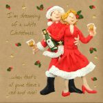 Christmas Card - Drinking Wine White Christmas - Three French Hens